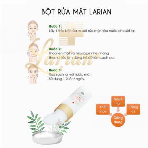 Cách dùng bột rửa mặt Larian
